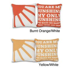 @Overstock - Add a fun touch to your home with this 2-piece pillow gift set. This set of two pillows has a You are my sunshine pattern on faux linen fabric.  http://www.overstock.com/Home-Garden/You-Are-My-Sunshine-8x8-inch-2-piece-Pillow-Set/7512001/product.html?CID=214117 $26.99