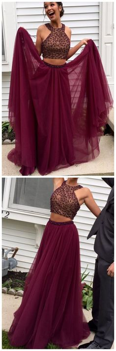 Charming Prom Dress,Sleeveless Burgundy Prom Dress,Elegant Homecoming Dress,Two