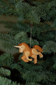 Handmade Wood UNICORN ORNAMENT Intarsia by GielishWoodSculpture
