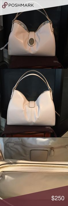 NWT Smooth Leather Coach Carlyle NWT Smooth Leather Coach Carlyle. Chalk in color Coach Bags