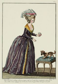 Robe à la Lévite with bodice en fourreau, petticoat coupé with flat trim in the color of the gown;* demi-négligée coiffure called à la Picarde, with Italian gauze lappets scalloped with lace. (1779)