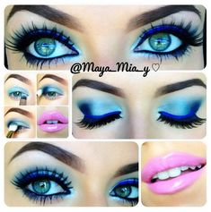 Blue eye makeup with blue eyeliner, and pink lips