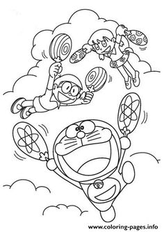 Doraemon Flies With Fan Coloring Pages Printable And Book To Print For Free Find More Online Kids Adults Of