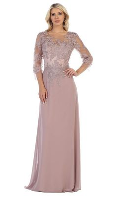 May Queen - Sheer Quarter Sleeve Appliqued Sheath Gown - 1 pc Mauve In Size M Available Long Mothers Dress, Mother Of The Bride Dresses Long, Mother Of Bride Outfits, Mothers Dresses, Mob Dresses, Prom Dresses Online, Short Dresses, Sandro, Illusion
