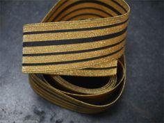 galon uniforme gendarmerie, surplus militaire, ruban doré liseret noir