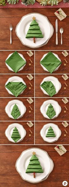 DIY Tischdeko Ideen zu Weihnachten, Servietten Origami Weihnachtsbaum, Falttechnik für Servietten NO SEW DISH TOWEL PILLOW DIY- Some dish towels are so pretty they should be pillows. Well, now they can be and no sewing involved! Christmas Tree Napkins, Origami Christmas Tree, Christmas Table Settings, Christmas Napkin Folding, Christmas Tables, Christmas Ornaments, Christmas Lights, Holiday Tables, Christmas Table Centerpieces