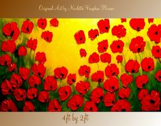ORIGINAL XLarge DEEP gallery wrap canvas  modern mixed media impasto poppies  fine  art   painting   by Nicolette Vaughan Horner. $275.00, via Etsy.