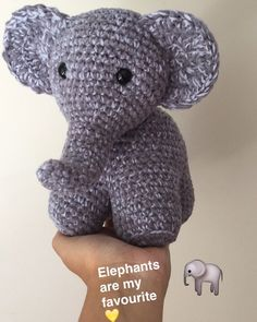 Here's a #snapchat of my newest #stuffie. I #love him so much! Need to photograph him now. #elephants #cute #chunky #hefalump #peanut #crocheted #madewithlove #animalkingdom #crochet #amigurumi #handmadewithlove #crochetedelephant by charlie_annes_stuffies