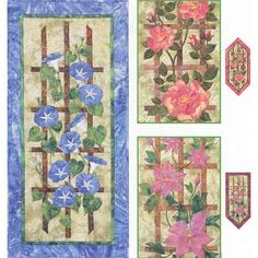 Purchase Flowering Trellis by Garden Trellis at QuiltersWarehouse where your favorite Applique Floral Quilts including Flowering Trellis are available. Clematis Trellis, Flower Trellis, Clematis Flower, Garden Trellis, Applique Wall Hanging, Quilted Wall Hangings, Hand Applique, Applique Quilts, Small Quilts