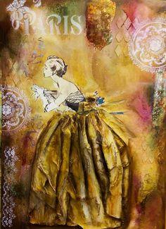 What a big dress! Μικτές τεχνικές σε καμβά 50Χ70  Βαρβάρα Κουμασίτη 2017 #Μορφές Painting, Art