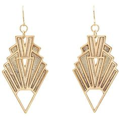 Charlotte Russe Etched Kite Earrings ($6) ❤ liked on Polyvore featuring jewelry, earrings, accessories, gold, charm earrings, earrings jewelry, fish hook charm, diamond shaped earrings and dangling jewelry