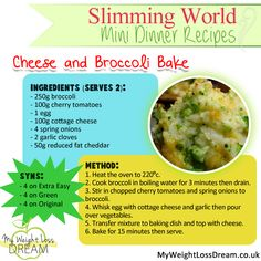 Delicious cheese and broccoli bake recipe - Slimming World Super Healthy Recipes, Healthy Foods To Eat, Diet Recipes, Healthy Snacks, Healthy Eating, Cooking Recipes, Healthy Dishes, Healthy Options, Cheese Recipes