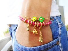 Neon evil eye bracelet set with an ethnic style  by Handemadeit, $27.90