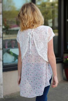 Floral + Lace Layered Top {Ivory} | The Fair Lady Boutique #lace #floral #bow #layering #socute #spring