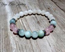 Moonstone Bracelet Aquamarine Bracelet Rose Quartz Bracelet Healing Jewelry Wrist Mala Yoga Meditation Jewelry Healing Stones Crystals