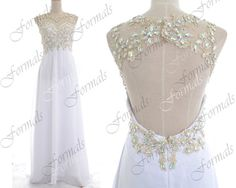 2014 Prom Dresses, White Prom Dresses, Straps Lace/ Crystal Long Chiffon Prom Dresses with Open Back, Evening Gown, Wedding Party Dresses on Etsy, $169.00