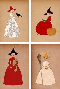Halloween Girls set of 4 small prints by IrenaSophia on Etsy Holidays Halloween, Halloween Crafts, Happy Halloween, Halloween Decorations, Halloween Witches, Spooky Spooky, Halloween Table, Halloween Signs, Halloween Halloween