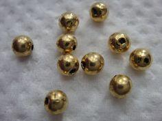 750 GG Gold Kugeln  3,4 mm, 10 Stück Echtgoldzwischenelement für Collier usw.