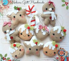 Christmas Crafts : Handmade felt cookie decorations - Ask Christmas - Home of Christmas Inspiration & Deals Christmas Makes, Noel Christmas, Homemade Christmas, Christmas Countdown, Felt Decorations, Christmas Decorations, Christmas Projects, Holiday Crafts, Felt Christmas Ornaments