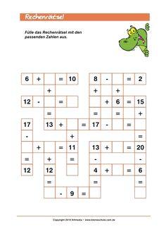 Rechnen Lernen Grundschule Add and Subtract up to 20 -puzzle for Class Mental Maths Worksheets, Maths Puzzles, Preschool Worksheets, Math Activities, Math For Kids, Fun Math, Kindergarten Math, Teaching Math, Math School