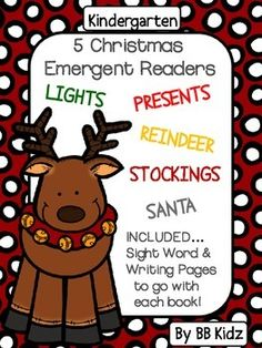5 Christmas Emergent Readers with 8 pages per book.Also included are Cut and Paste pages to go with each book working on sight word and sentence structure. Each booklet has a writing page to go with the booklet.A great way to teach reading/ writing and sentence structure.38 pagesBy BB Kidz