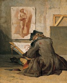 """Young Student Drawing - Jean Simeon Chardin c.1738 French painter 1699-1779 Kimbell Art Museum, USA """""""