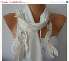 BIG SALE Off White Scarf    Pashmina Scarf   Cowl with by fatwoman, $16.00