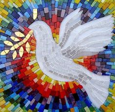 """peace-dove- """"The Holy Spirit is a living gift of energy to comfort, strengthen and heal, Sweet Holy Spirit"""". Tile Art, Mosaic Art, Mosaic Glass, Glass Art, Stained Glass, Mosaic Mirrors, Sea Glass, Mosaic Crafts, Mosaic Projects"""