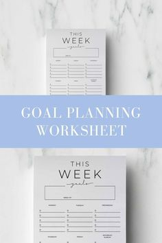 Set your weekly goals and break them down into actionable steps for each day of the week with this printable planner. Chic & minimal design that can be printed again and again. Click to get yours and start planning today.   #goalsetting #goalplanner #goalplannerprintable #minimalplanner #goalsettingworksheet
