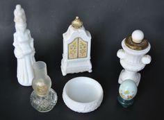 6 LOT Avon Milk Glass Decanters + Soap Dish, Armoire, Egg, Goddess, Chimney Lamp