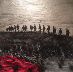 Remembrance Day Poppy Art Painting by Jacqueline Hurley Where The Tommies Go, The Poppies Grow War Poppy Collection Lest We Forget Army Tattoos, Military Tattoos, Remembrance Day Poppy, Remembrance Day Posters, Remembrance Day Pictures, Remembrance Quotes, Remembrance Tattoos, Ww1 Art, War Tattoo