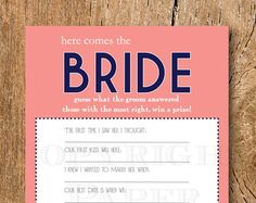 Wedding Shower Game Bachelorette Party Game by 31Flavorsofdesign