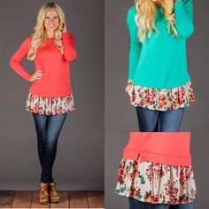 These floral trim tops might be my favorite new spring item!! They are so bright and cheery ☀️ Only $23.99!