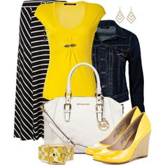"""Denim, Yellow, and Maxi Skirt"" by averbeek on Polyvore"