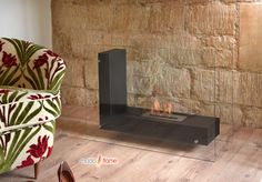 Arta Contemporary Indoor Outdoor L Shaped Ethanol Fireplace in Black