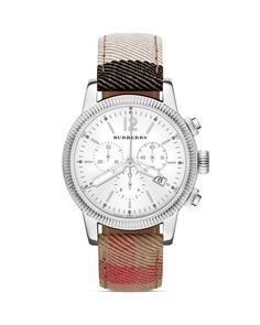 Burberry House Check Leather Strap Round Watch, 42mm