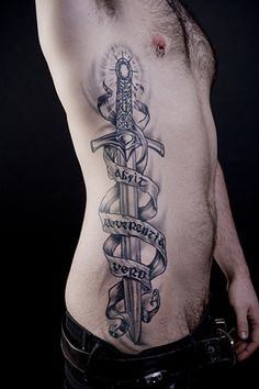 sword of truth black and grey tattoo