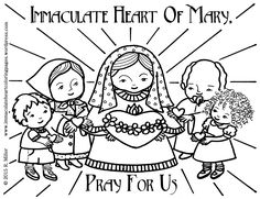Immaculate Conception Coloring Page: Angels and Banner