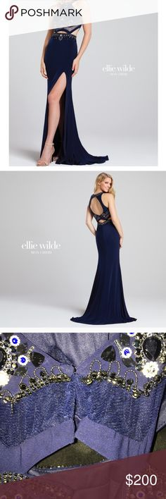 Ellie Wilde prom dress Navy blue prom dress. Slit on the side. High neck. Cut outs on the stomach so beautiful on worn once. I'm 5'10 and it can to my feet with 2 in heels on. Any questions feel feel to ask :)) (not Sherrie hill used for exposure) Sherri Hill Dresses Prom