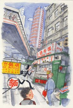 """""""Lan Fong Yuen @Patrick Gage Kelley Street / Central,Hong Kong ( 蘭芳園@結志街/中環,香港)"""" Illustrated by Mitsuko Onodera From : """"香港女子的裏グルメ""""(世界文化社・刊) (watercolors, colored pencils) Travel Illustration, Graphic Illustration, Hong Kong Building, Hong Kong Art, City Sketch, Watercolor Logo, Anime Scenery, Urban Sketchers, Illustrations And Posters"""