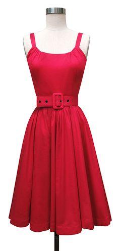 Trashy Diva Annette Dress | 1950s Inspired Dress | Red Voile