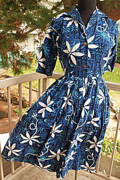 Alfred Shaheen Hawaiian Print Dress Authentic Vintage 1950's