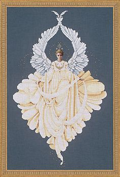 Lavender and Lace Peace Angel - Cross Stitch Pattern. A beautiful angel dressed in a graceful gown of whites and golds. Model stitched on 32 Ct. Cross Stitch Fairy, Cross Stitch Angels, Cross Stitch Kits, Counted Cross Stitch Patterns, Cross Stitch Designs, Cross Stitch Embroidery, Stitch And Angel, Cross Stitch Pictures, Christmas Angels