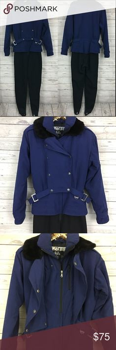 """Vintage 80s 90s ski suit fleece stirrup puffer Great condition. 22"""" armpit to armpit. Waist measures 15"""" across laying flat unstretched, inseam is 31"""" (measurement includes stirrups). Pants are fleece lined Vintage Pants Jumpsuits & Rompers"""