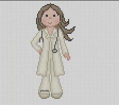 Lady doctor x-stitch Cute Cross Stitch, Cross Stitch Charts, Cross Stitch Designs, Cross Stitch Patterns, Cat Cross Stitches, Cross Stitching, Cross Stitch Embroidery, Embroidery Patterns, Stitch Doll