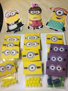 Minion party cutouts & candy--Picture only-easy to make Minion Party Favors, Minion Party Theme, Despicable Me Party, Party Favours, Minions Birthday Theme, 4th Birthday Parties, 3rd Birthday, Minion Craft, Minion Treats