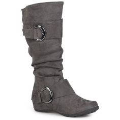 Womens Journee Collection Womens Slouch Buckle Microsuede Boots ($44) ❤ liked on Polyvore featuring shoes, boots, shoe's, grey, gray boots, slouch boots, tall grey boots, slouchy mid calf boots and flat slouch boots