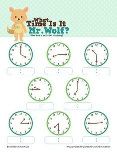 What Time Is It Mr. Wolf? - Telling Time Worksheets - :00,