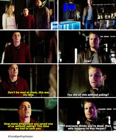 Roy, Oliver, Felicity and Diggle Arrow Cw, Arrow Oliver, Team Arrow, Cw Tv Series, Arrow Tv Series, Dc Comics, Stephen Amell Arrow, Ugly Cry, Roy Harper
