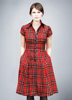 Knielange Kleider - V.I.C.K.Y. checked shirt dress - ein Designerstück von Femkit bei DaWanda